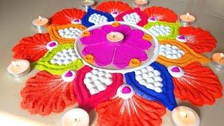 Beautiful Pongal Rangoli जो आप भी बना लेंगे Colourful Sankranthi की सुंदर रंगोली बनाये दीये से