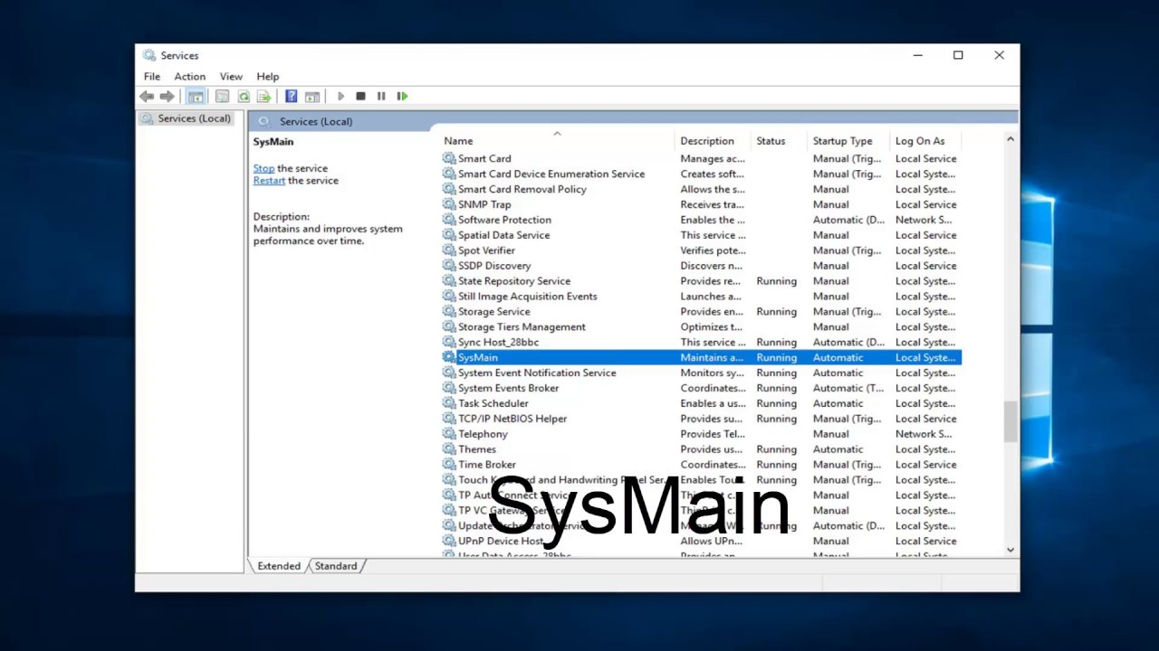 windows 10 superfetch sysmain