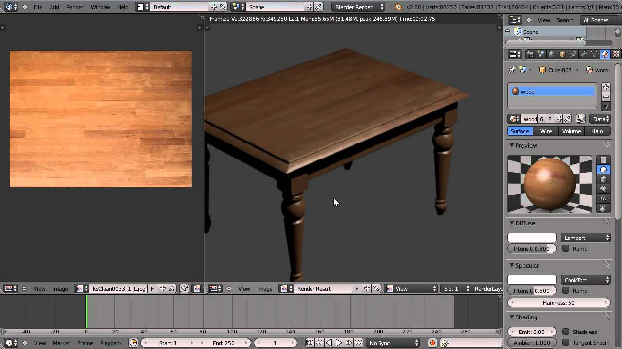 Texturing A Wooden Table In Blender 2 66 Youtube