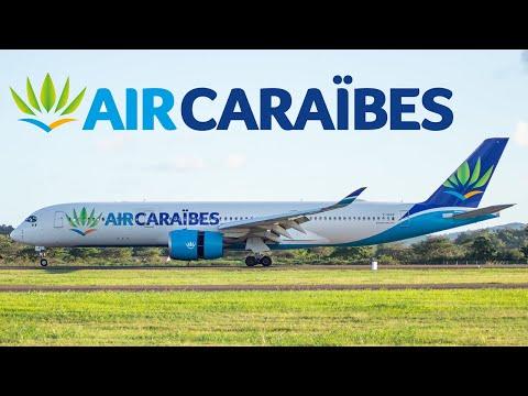 Attérrissage du 1er Airbus 350 d' Air CaraÏbes en Martinique avec Watersalute