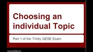 How to choose a Trinity topic