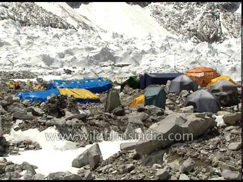 Trekkers camp near the morainic rubble below Khumbu icefall