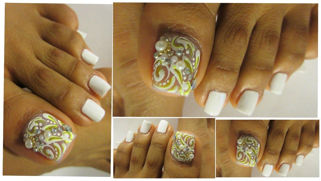 Uñas Decoradas Blancas De Los Pies Facileswhite Design Toe Nail Art