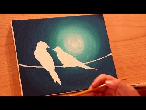 How to Paint BIRDS ON A WIRE in the MOONLIGHT