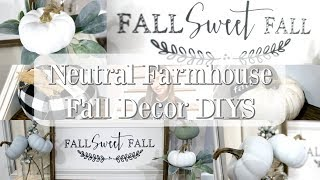 NEUTRAL FARMHOUSE FALL DECOR DIYS | FARMHOUSE DECOR ON A BUDGET