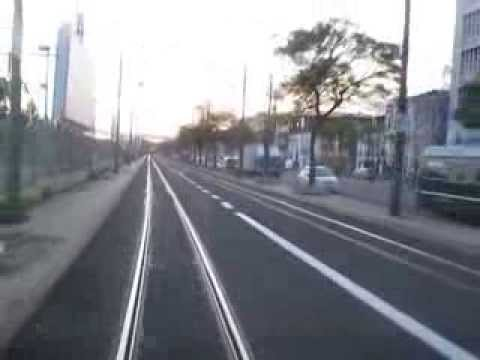 Tramline 15 in Lisbon from Alges to Rua Alfandega in Febuary 2014 (detour)