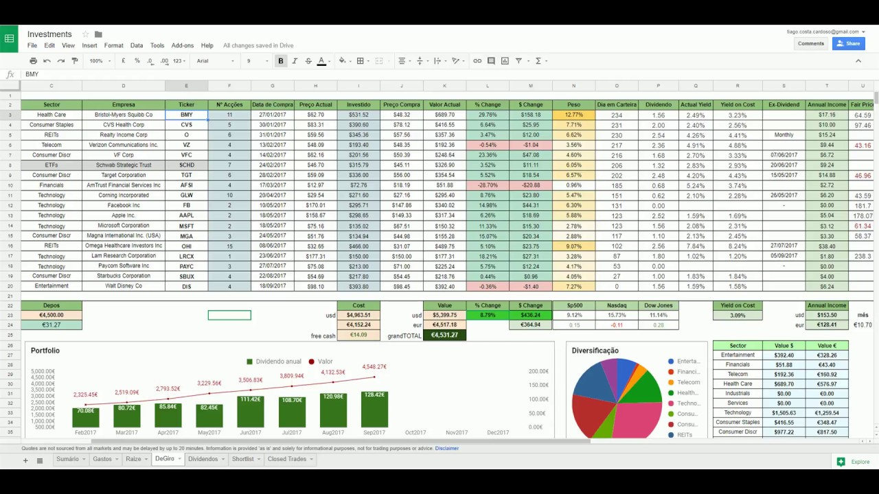 build your own portfolio tracker on google sheets youtube
