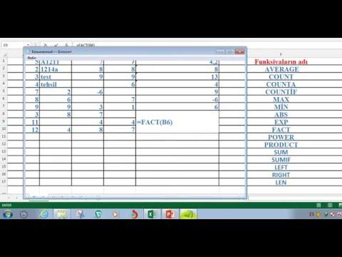 Excel-in funksiyalari(dusturlari)