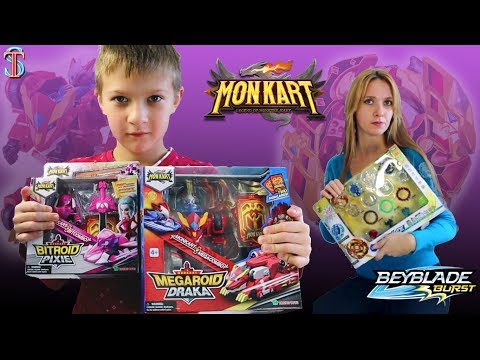 Monkart VS Beyblade? Tim DOES NOT WANT TO GIVE A Draka and Pixie! Mom picks up Beyblade 😱