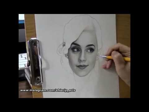 Realism Portrait Drawing of Emma Watson with Graphite Pencil