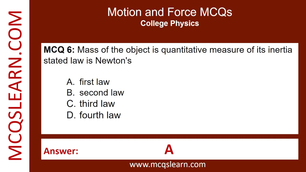 Motion and Force MCQs - MCQsLearn Free Videos