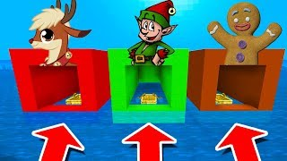 Minecraft PE : DO NOT CHOOSE THE WRONG BOAT! (Reindeer, Elf & Gingerbread Man)