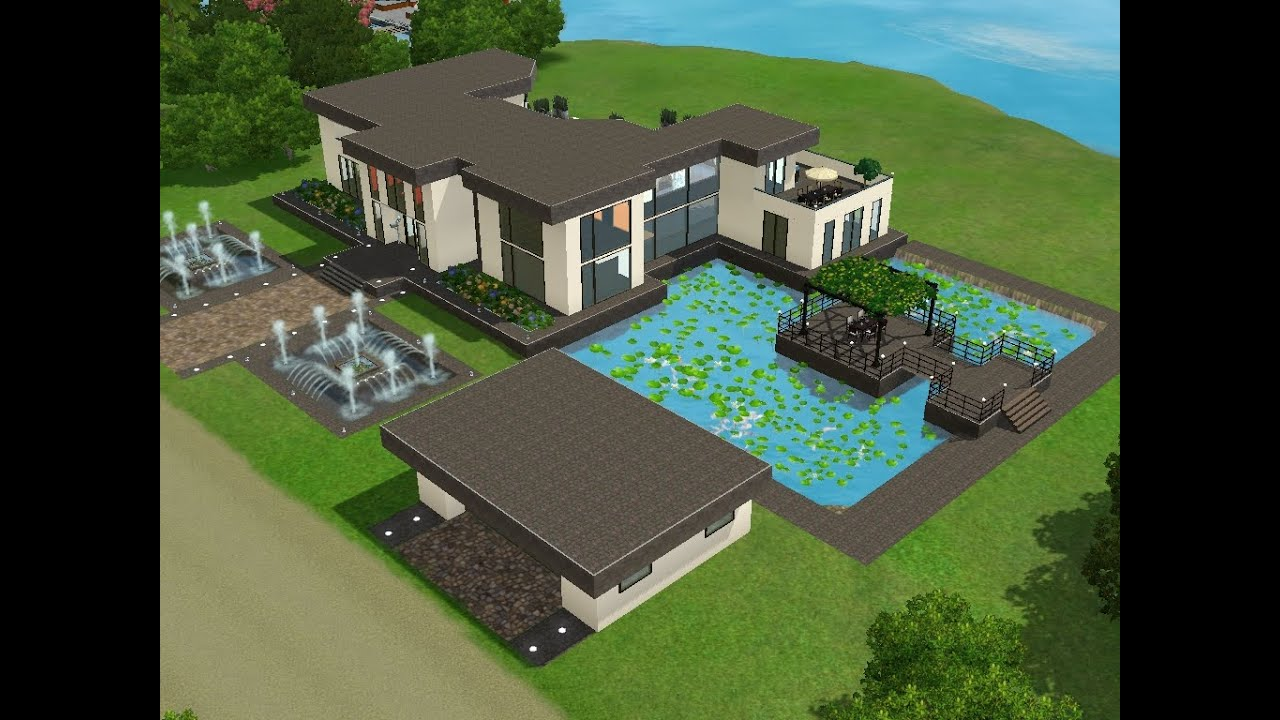 sims 3 haus bauen let 39 s build gro es modernes haus mit pool und teich youtube. Black Bedroom Furniture Sets. Home Design Ideas