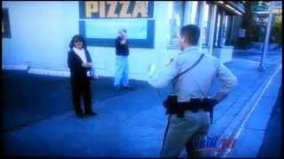 A jaywalker flees when police try to identify him.