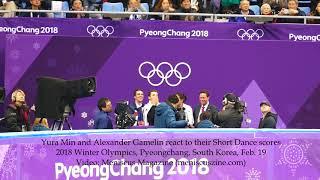 Yura Min & Alexander Gamelin react to their Ice Dancing Short Dance scores - 2018 Winter Olympics