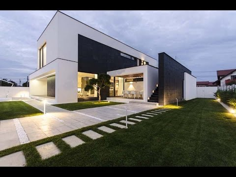 Modern C House Design With Simple Black And White Colors Combined Amazing Shape