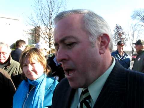 Liberal Ministers Greg Byrne, Hedard Albert and Denis Landry face the Protesters
