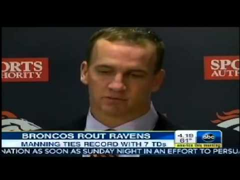 ▶ Peyton Manning scores 7 TDS ties NFL record with seven touchdown passes in Ravens vs  Broncos