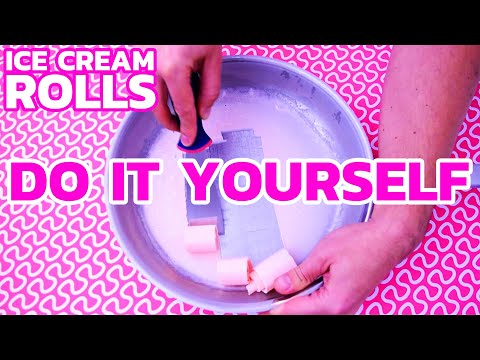 How to make ICE CREAM ROLLS – Pink Marshmallow  DIY Tutorial & Recipe