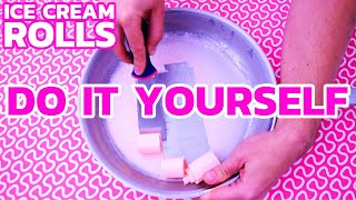 How to make ICE CREAM ROLLS at home - Pink Marshmallows | DIY Tutorial & Recipe