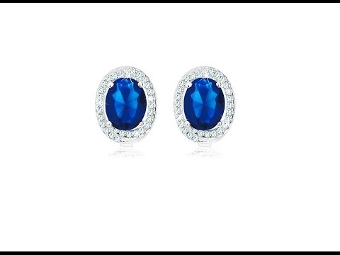 Jewellery - 925 silver earrings, oval dark blue zircon
