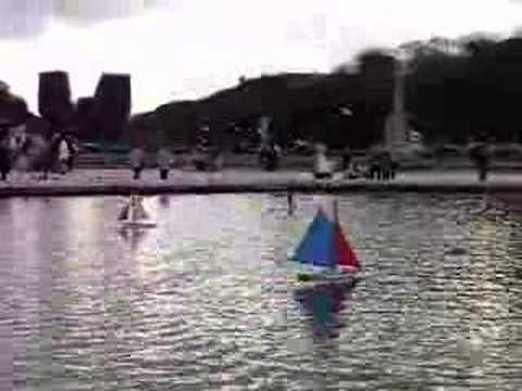 Toy sailboats at the Luxembourg Gardens Paris France