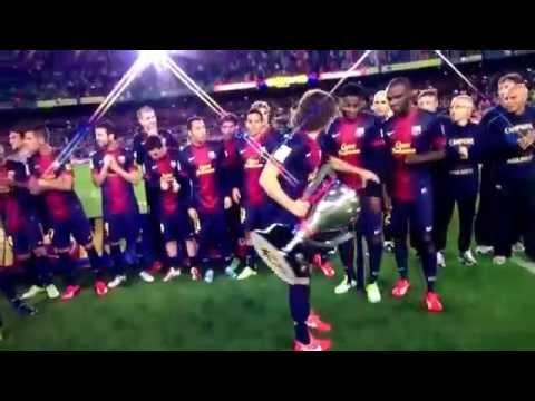 Alex Song's epic FAIL at the Barcelona La Liga title celebrations 2013