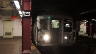 "R42 ""School Car"" Enters and Departs Delancey Street - Essex Street  [2014]"