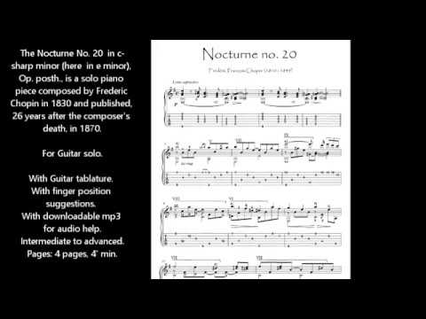 Nocturne 20 by Chopin for guitar solo sheet music download