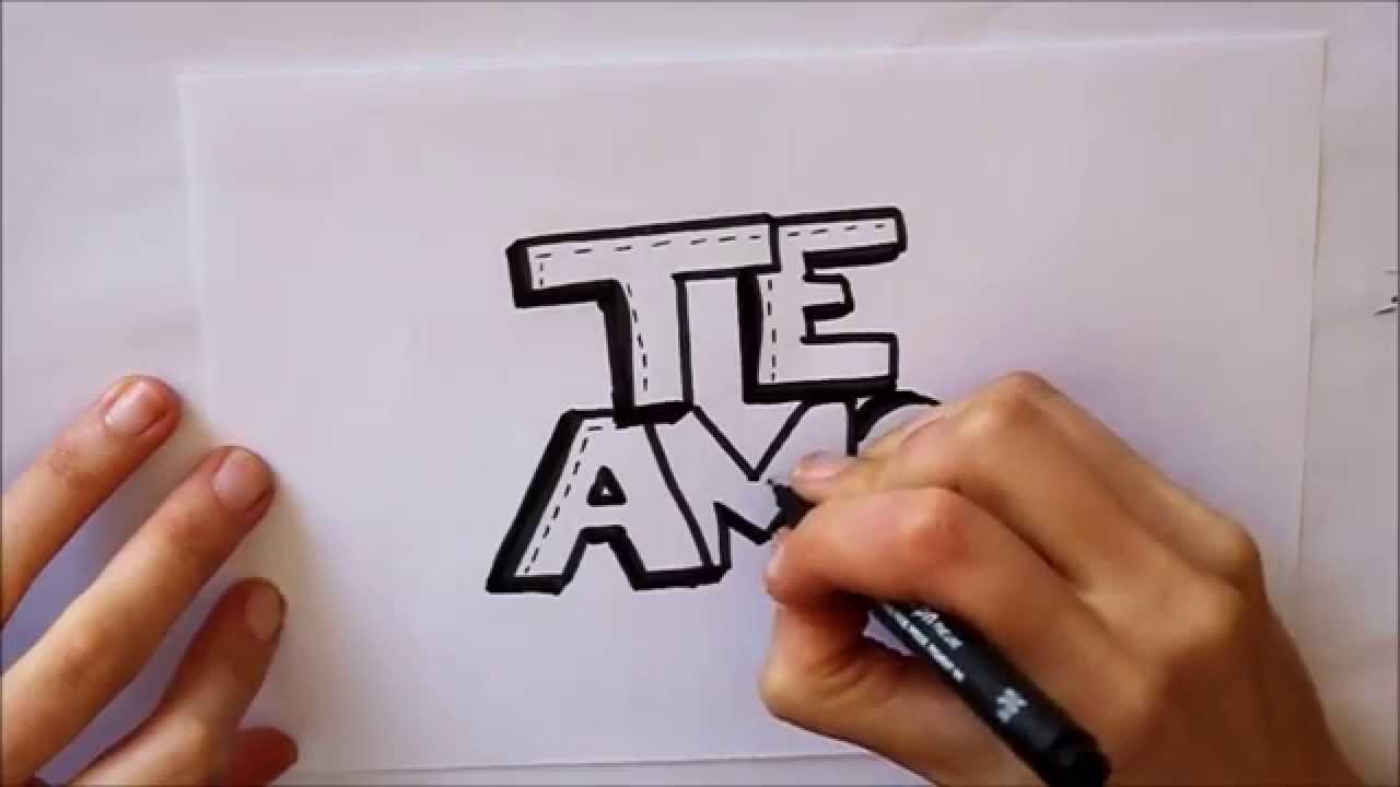 Cómo dibujar TE AMO letras Dibuja Conmigo Dibujos de Amor - YouTube