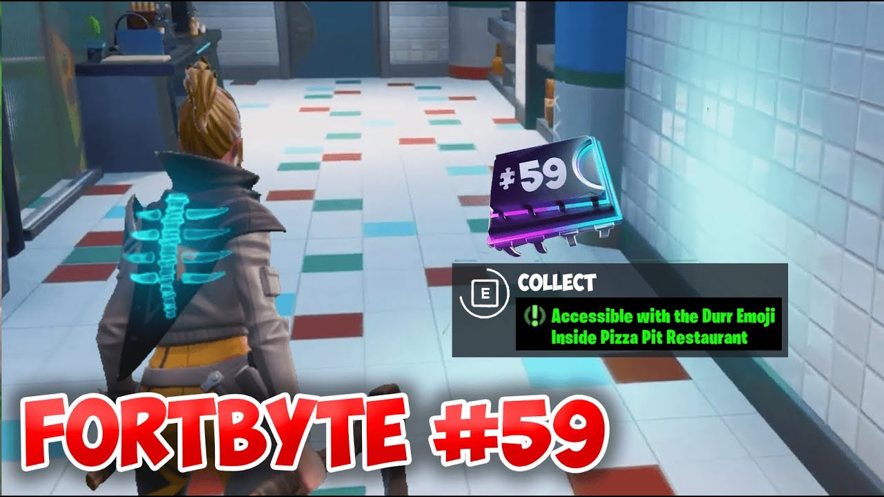 Fortnite Fortbyte #59 Location - Accessible with the Durr Emoji Inside  Pizza Pit Restaurant