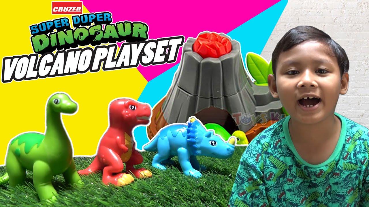Praya Bermain Dinosaurus dan Gunung Berapi | Cruzer Super Duper Dinosaurus