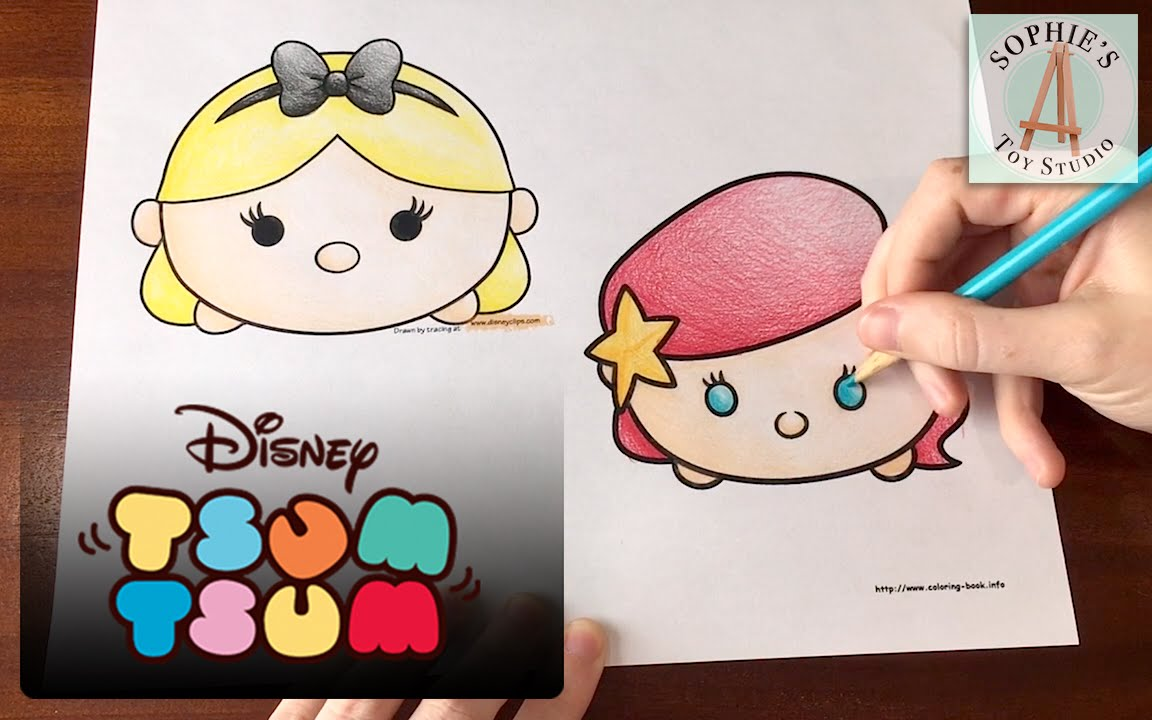 Tsum Tsum Coloring Pages: Princess Ariel & Alice Disney Tsum Tsum Coloring Page