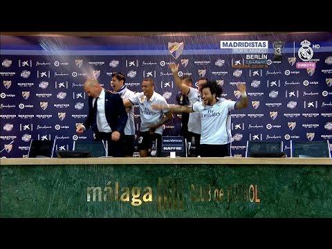 Zidane mojado por los jugadores del Real Madrid CAMPEON DE LIGA 2016/17