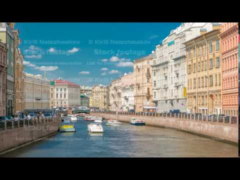 Traffic of touristic cruise boats on the Moyka River timelapse in Saint-Petersburg, Russia