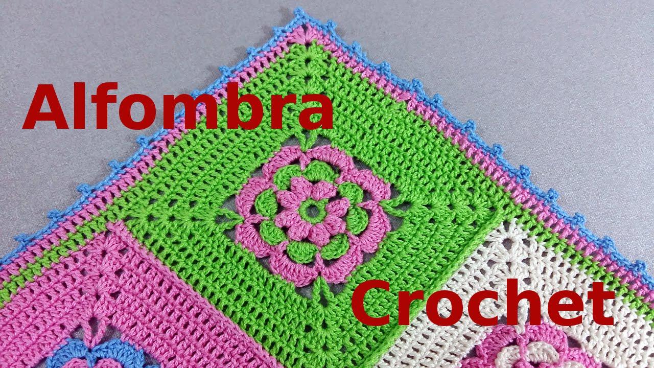 Como tejer una alfombra multicolor en tejido crochet o - Hacer una manta de ganchillo ...