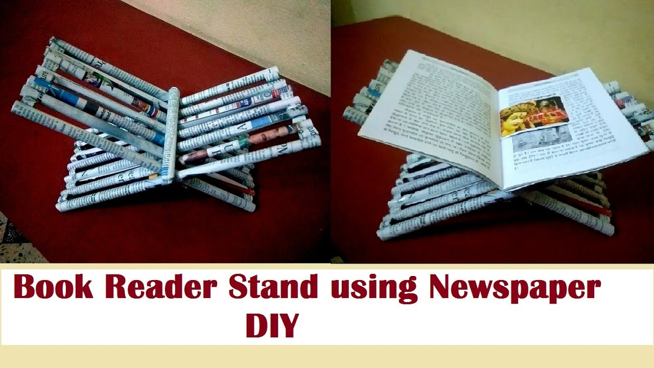 how to make book reader stand using newspaper diy