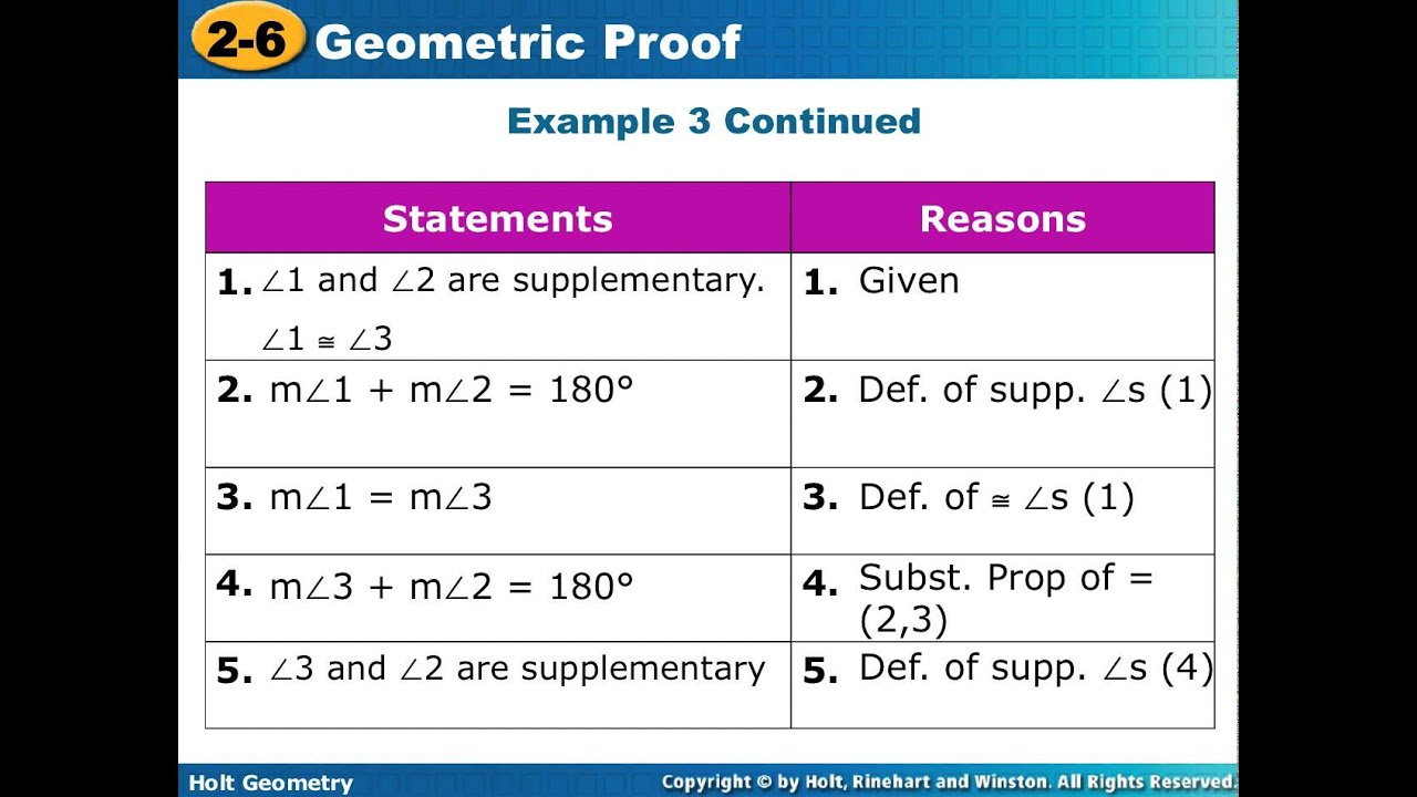 Geometry Lesson 2.6-2.7 Completing Proofs - YouTube