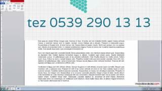 Tez Yazımında Sayfaya Numara Verme 0539 290 13 13 | bitirme tezi