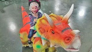 RIDING DINOSAURS with Adley!! 🦕