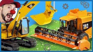 Funny Clown Bob Construction vehicles Excavator Backhoe Digger & Combine Harvester Video for kids