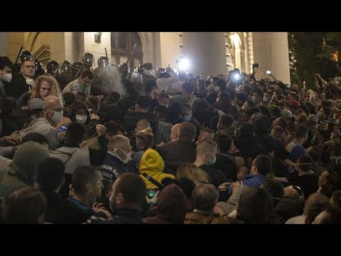 Protesters attempt to storm parliament in Serbia as lockdown measures are reintroduced