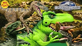 4 Jurassic World Velociraptors Vs T-Rex   Echo, Charlie, Delta and Blue Unboxing, Review By WD Toys