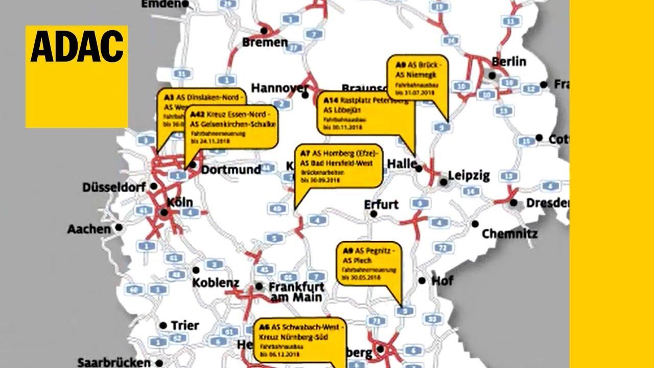Baustellen Auf Deutschlands Autobahnen I Adac 2018 Youtube