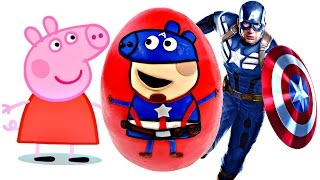 Marvel Avengers Captain America x Peppa Pig Giant Play Doh Surprise Egg Opening on DCTC