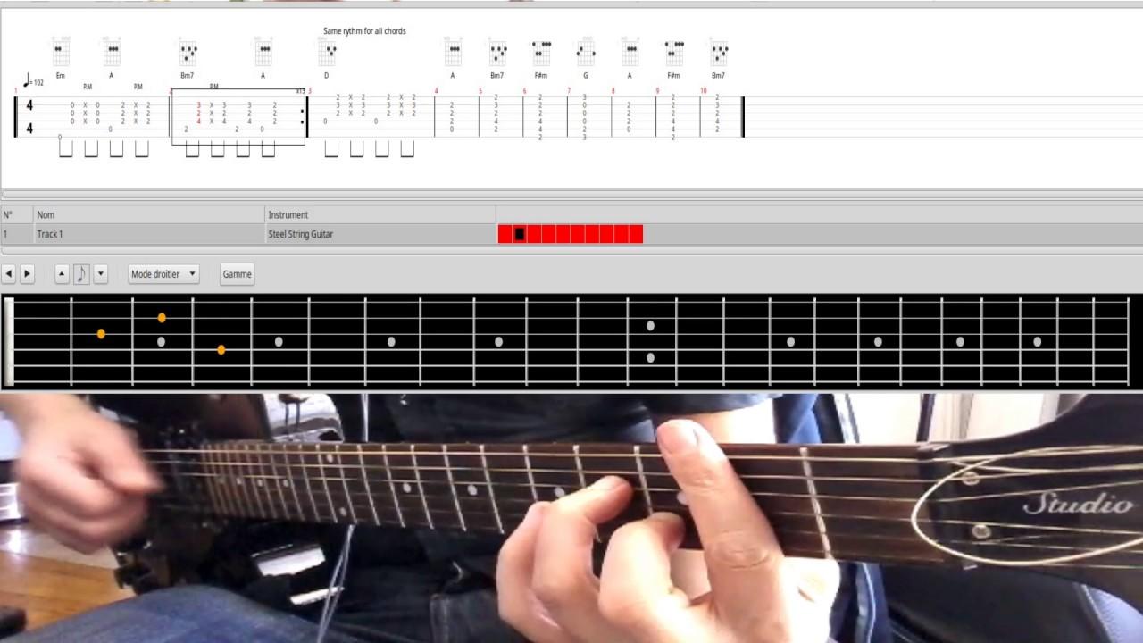 Videotab Guitar Chords English Man In New York Accords Et Rythme