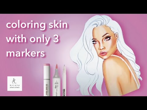 Tutorial: How to colour skin with 3 copic markers (fashion illustration)