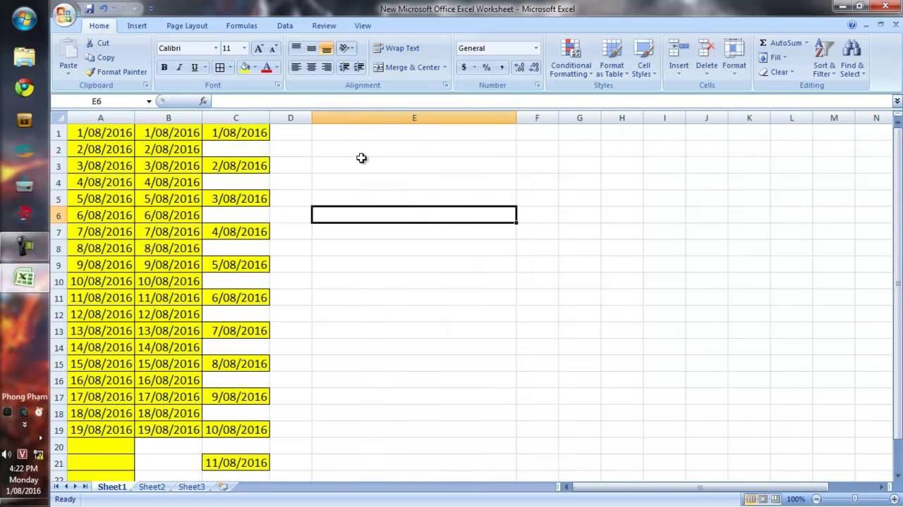 Hướng dẫn fill ngày tháng năm (tự động điền ngày tháng năm) trong excel