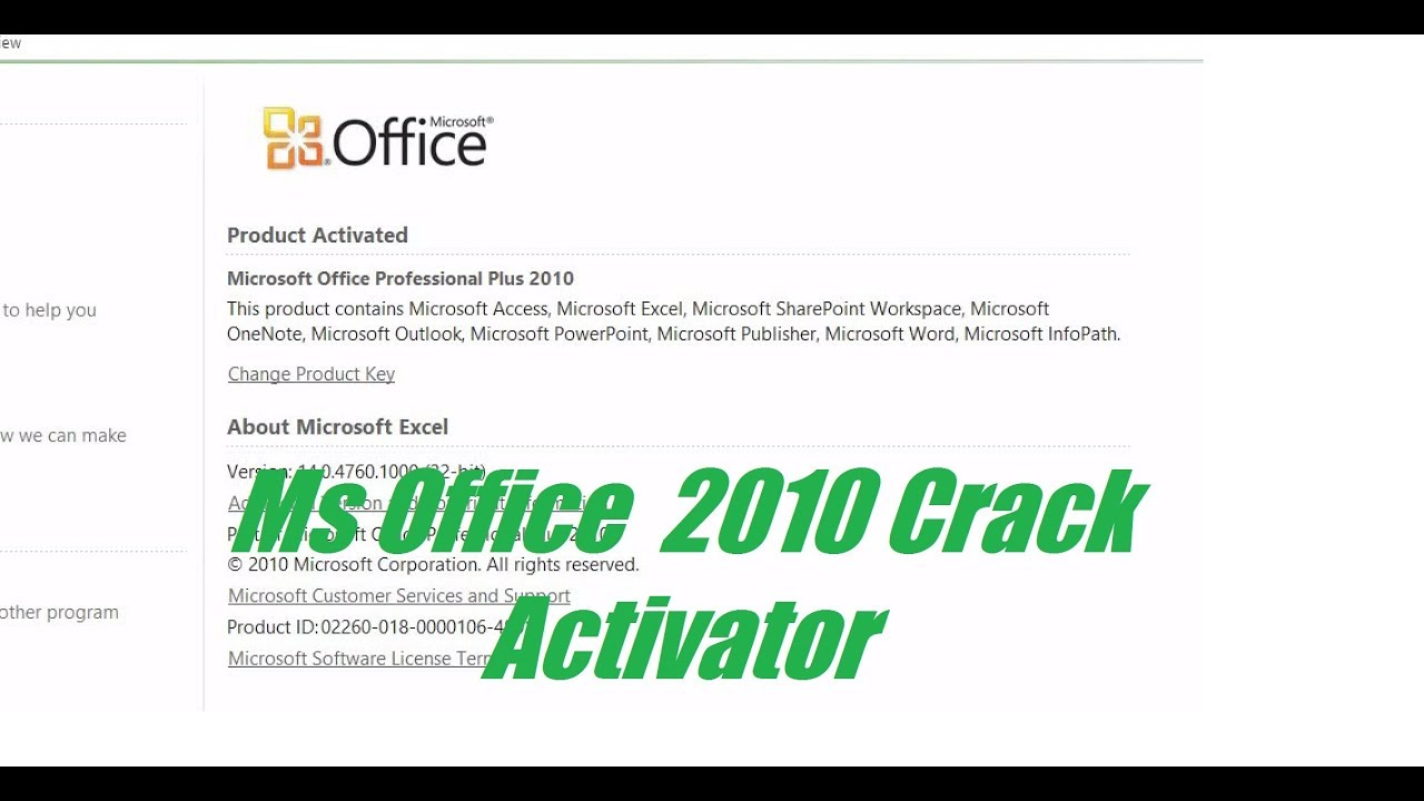 activation key office 2010 crack