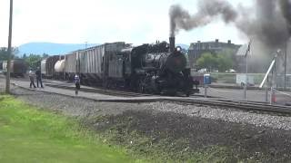 ALCO 2-6-0 Steam Locomotive Leads a Local Freight in Altoona, PA